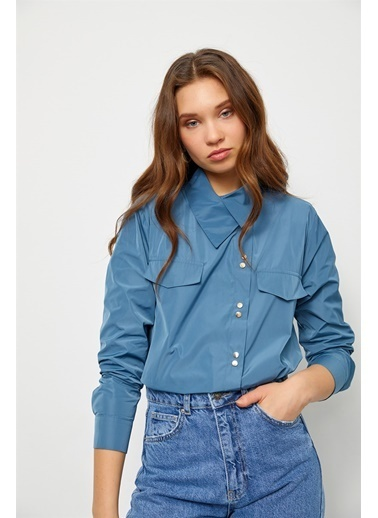 Setre Puslu Mavi Asimetrik Yaka Uzun Kol Gömlek Mavi